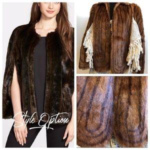 Vintage Large Circular Scalloped Edge Fur Stole